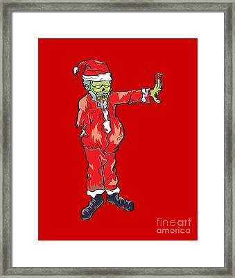 Zombie Santa Claus Illustration Framed Print