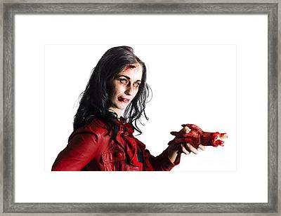 Zombie Shaking Severed Hand Framed Print
