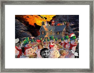 Zombie Snowmen Christmas Framed Print by Barry Kite