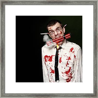 Zombie Suicide Bomber Holding Explosives In Mouth Framed Print by Jorgo Photography - Wall Art Gallery