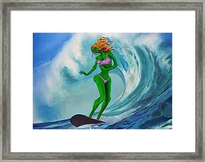 Zombie Surf Goddess Framed Print by Geoff Greene