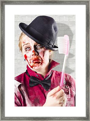 Zombie With Big Toothbrush. Fear Of The Dentist Framed Print by Jorgo Photography - Wall Art Gallery