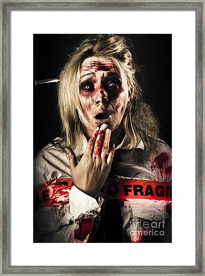 Zombie Woman Expressing Fear And Shock When Waking Framed Print