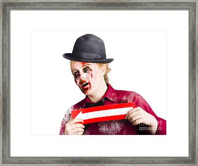 Zombie Woman Giving Directions Framed Print