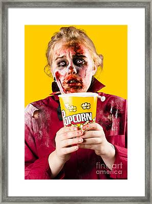 Zombie Woman Watching Scary Movie With Popcorn Framed Print by Jorgo Photography - Wall Art Gallery