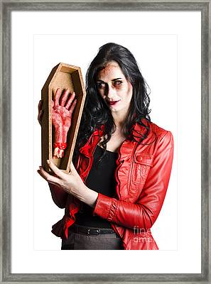Zombie Woman With Coffin And Severed Hand Framed Print by Jorgo Photography - Wall Art Gallery