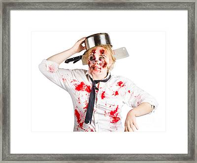 Zombie Woman With Cooking Pan On Her Head Framed Print by Jorgo Photography - Wall Art Gallery