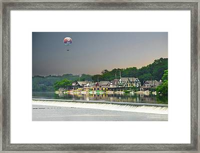 Framed Print featuring the photograph Zoo Balloon Flying Over Boathouse Row by Bill Cannon
