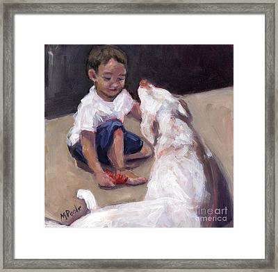 Framed Print featuring the painting Zoom Groom by Molly Poole