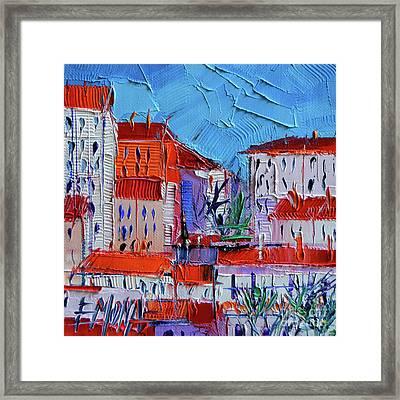 Zoom On Croix-rousse - Lyon France - Palette Knife Oil Painting By Mona Edulesco Framed Print