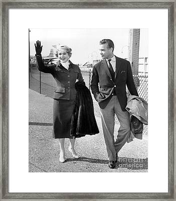 Zsa Zsa Gabor And Porfirio Rubirosa Arrive At Idlewild Airport From Ireland. 1954 Framed Print by Barney Stein