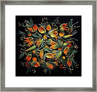 Zucchini Flower Patterns Framed Print