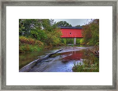 Zumbrota Minnesota Historic Covered Bridge 5 Framed Print by Wayne Moran