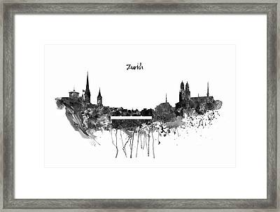 Zurich Black And White Skyline Framed Print by Marian Voicu
