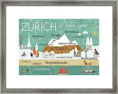 Zurich I Love You Framed Print