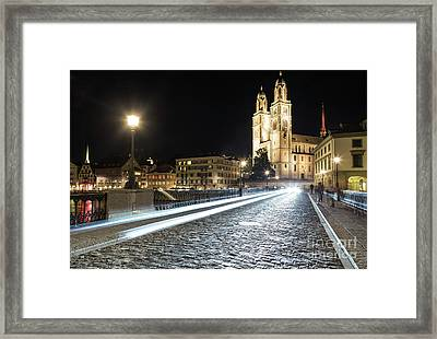 Zurich Night Rush In Old Town Framed Print