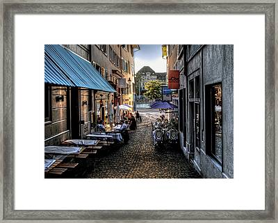 Zurich Old Town Cafe Framed Print by Jim Hill