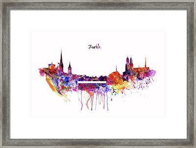Zurich Skyline Framed Print by Marian Voicu