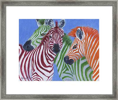 Framed Print featuring the painting Zzzebras by Jamie Frier