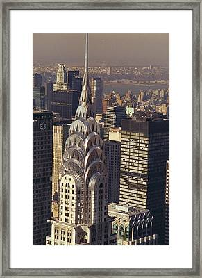 Aerial View Of The Chrysler Building Framed Print by New York Daily News Archive