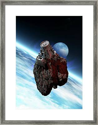 Asteroid Mining, Artwork Framed Print by Victor Habbick Visions