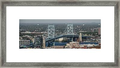 Framed Print featuring the photograph Benjamin Franklin Bridge Panorama by Bill Cannon
