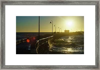 Framed Print featuring the photograph Caleta Walkway At Sunset Cadiz Spain by Pablo Avanzini