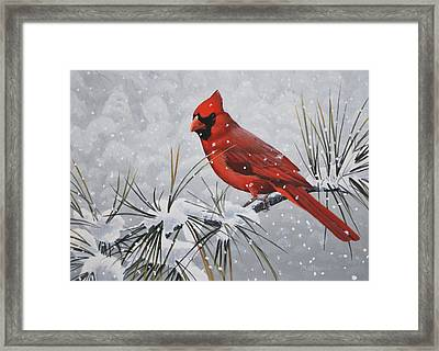 Framed Print featuring the painting Cardinal In The Snow by Peter Mathios