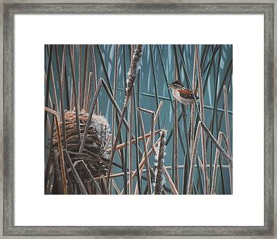 Framed Print featuring the painting Cattail Hideaway by Peter Mathios
