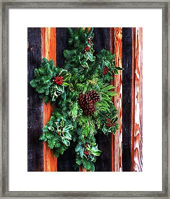 Framed Print featuring the photograph Christmas Wreath 20474 by Jerry Sodorff