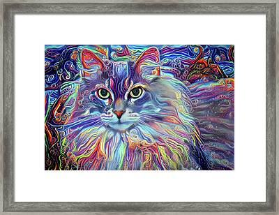 Colorful Long Haired Cat Art Framed Print