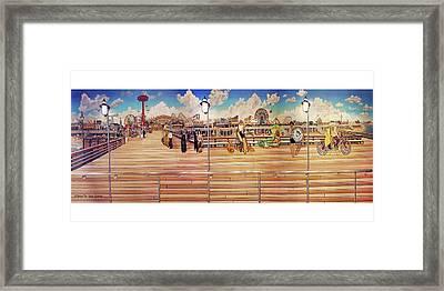 Coney Island Boardwalk Towel Version Framed Print