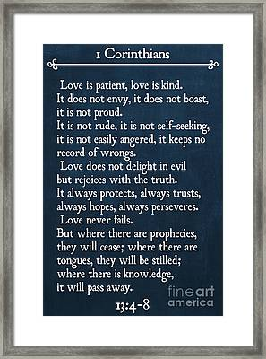 1 Corinthians 13 4-8- Inspirational Quotes Wall Art Collection Framed Print