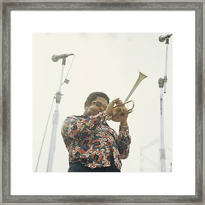 Dizzy Gillespie Performs At Newport Framed Print by David Redfern