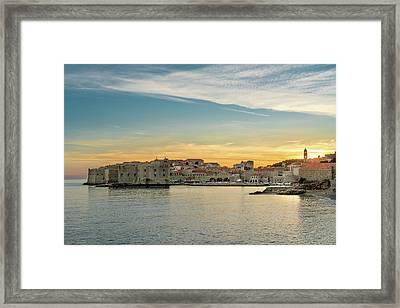 Dubrovnik Old Town At Sunset Framed Print