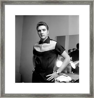 Elvis Presley On Milton Berle Framed Print by Michael Ochs Archives