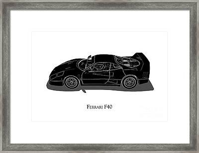 Ferrari F40 - Side View Framed Print