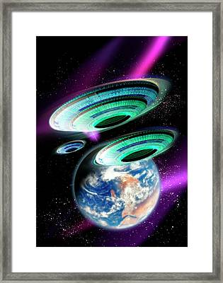 Flying Saucers Invading Earth, Artwork Framed Print by Victor Habbick Visions
