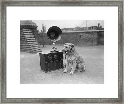 His Masters Voice Framed Print by Fox Photos