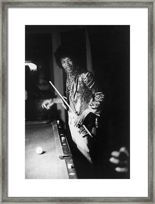 Jimi Hendrix Plays Pool Framed Print