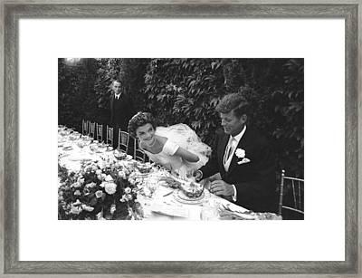 John F. Kennedy And Jacqueline Kennedy Framed Print by Lisa Larsen