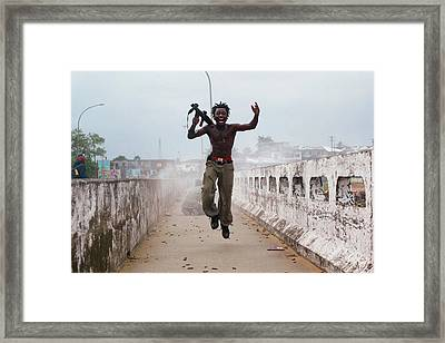 Liberian Government Troops Push Back Framed Print