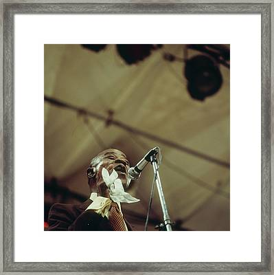 Louis Armstrong On Stage At Newport Framed Print by David Redfern