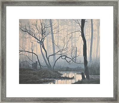 Framed Print featuring the painting Misty Hideaway - Wood Duck by Peter Mathios