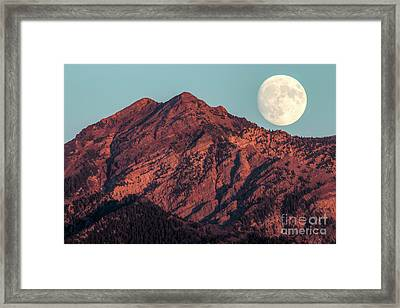 Framed Print featuring the photograph Moon Rising Over Twin Peaks by Spencer Baugh