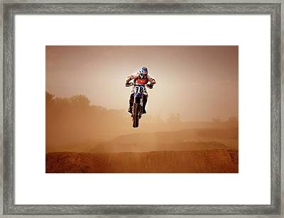 Motocross Rider Framed Print by Design Pics