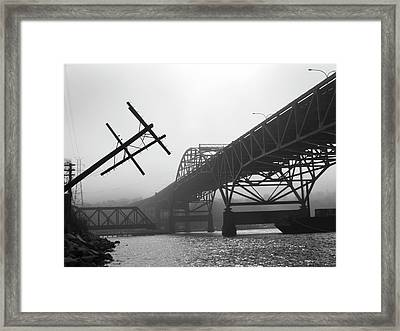 Framed Print featuring the photograph Old Sakonnet River Bridge Iv Bw by David Gordon