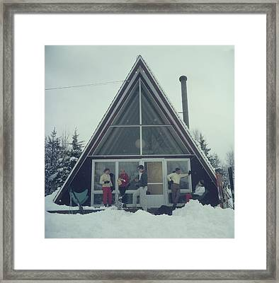 On The Slopes In Stowe Framed Print by Slim Aarons