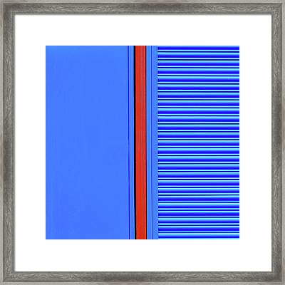 Blue With Red Stripe Framed Print