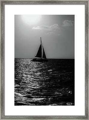 Sailing Into The Sunset Black And White Framed Print